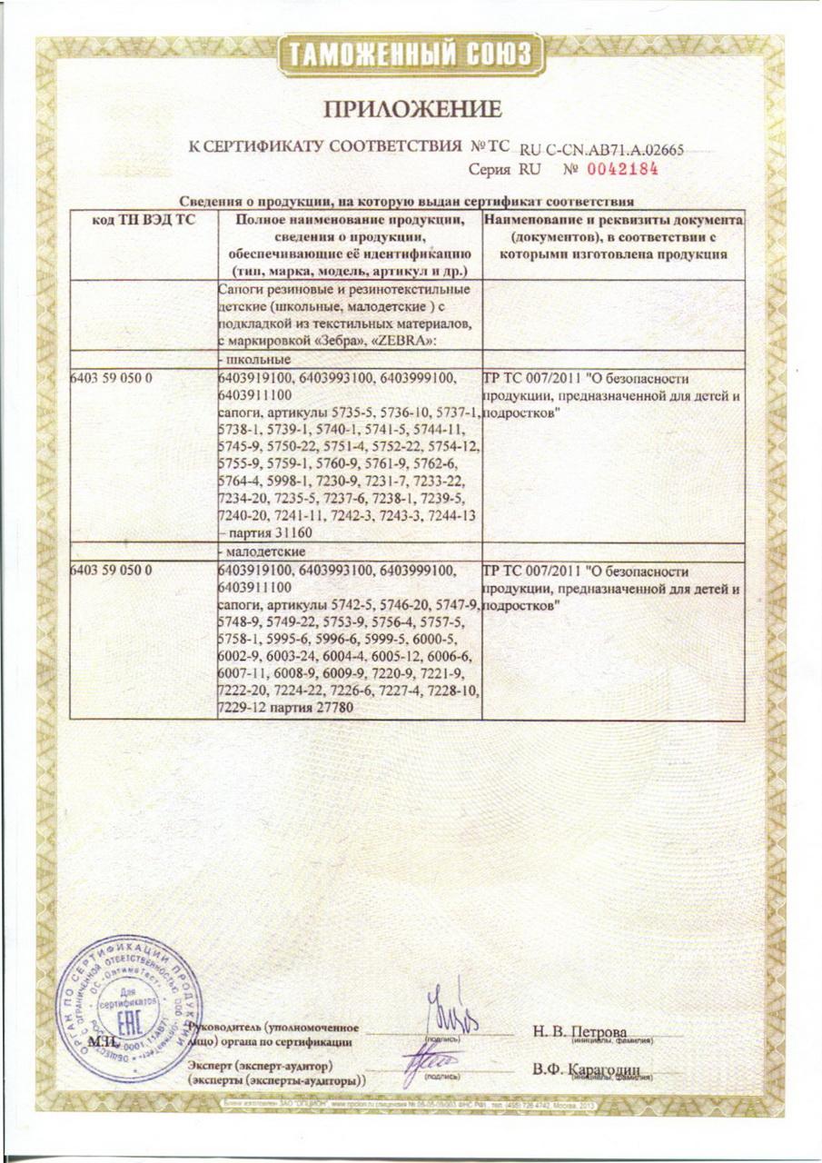 2014.11.06 ЗЕБРА Сапоги резиновые и резинотекстильные (школьные, малодетские)
